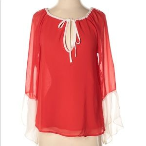 Red and Peach Blouse